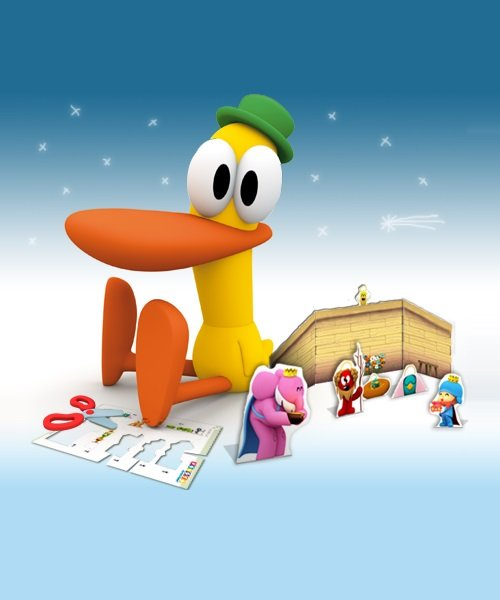 Nativity scene of Pocoyo and his friends.